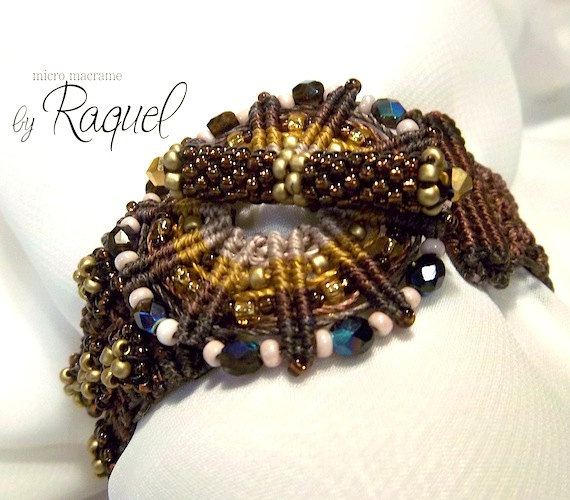 Brown Wheel Micro Macrame Bracelet 